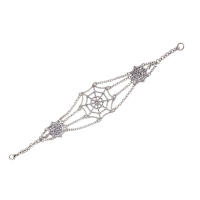 Silver Tone Crystal Spider Web Chain Bracelet
