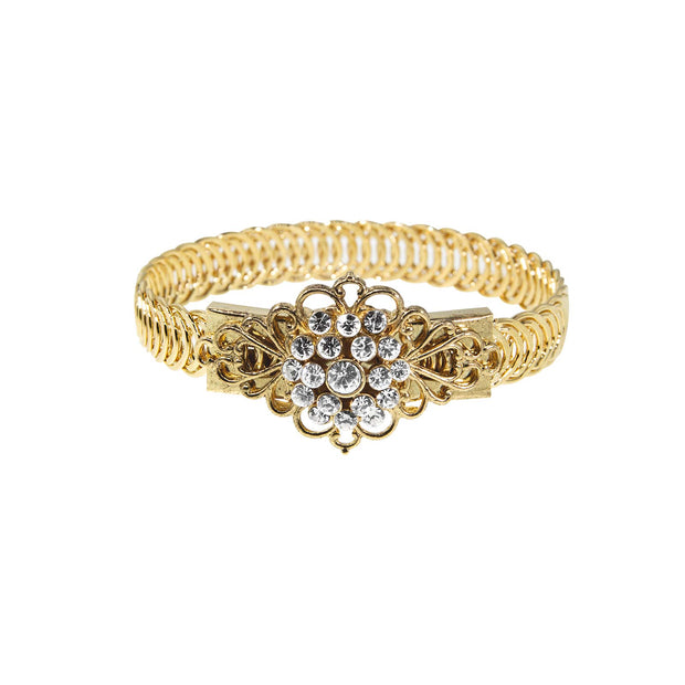 14K Gold Dipped Crystal Flower Overlay Belt Bracelet