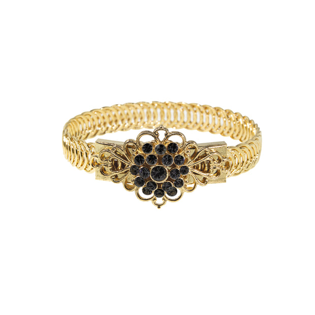 14K Gold Dipped Crystal Flower Overlay Belt Bracelet Black