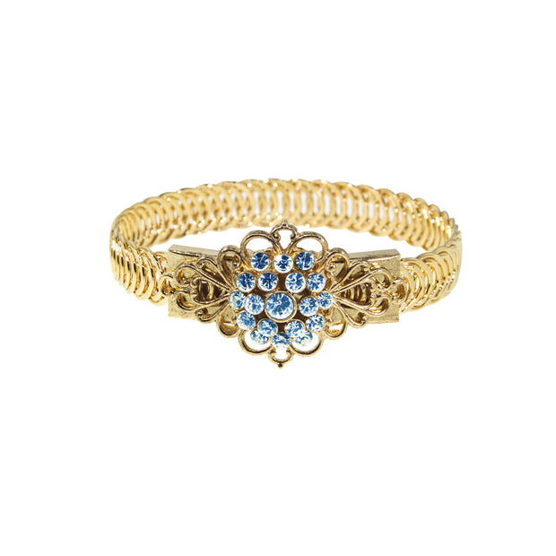 14K Gold Dipped Crystal Flower Overlay Belt Bracelet LIGHT BLUE