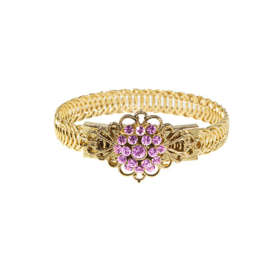 14K Gold Dipped Crystal Flower Overlay Belt Bracelet Pink