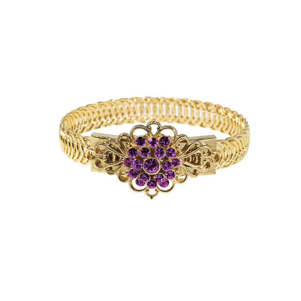 14K Gold Dipped Crystal Flower Overlay Belt Bracelet PURPLE