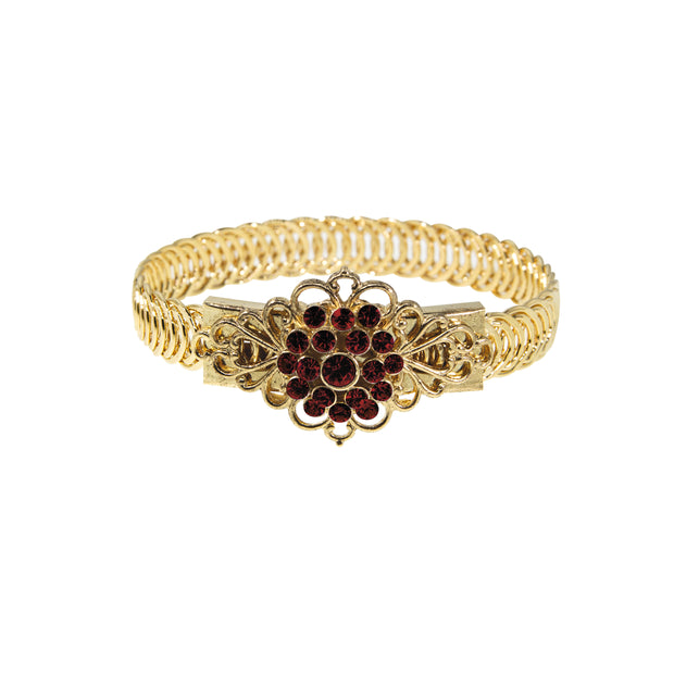 14K Gold Dipped Crystal Flower Overlay Belt Bracelet Red
