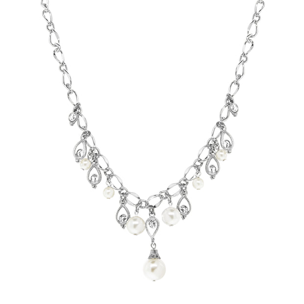 Silver Tone Crystal Costume Pearl Drop Necklace 16   19 Inch Adjustable