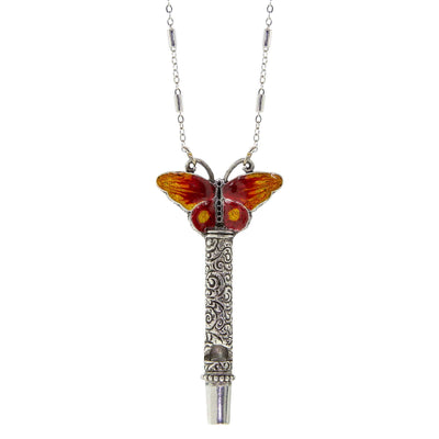 Pewter Whistle with Orange & Yellow Enamel Butterfly Necklace 30