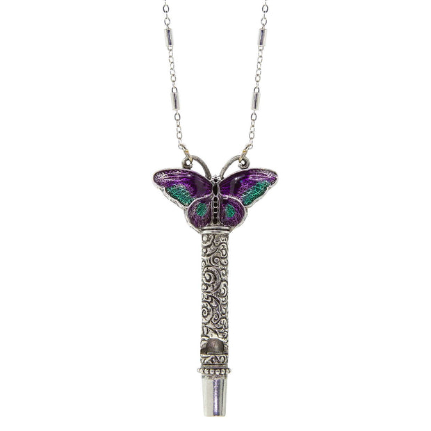 Pewter Whistle with Purple & Green Enamel Butterfly Necklace 30