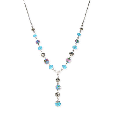 Silver Tone Aqua Pink Flower Beaded Drop Y Necklace 16 - 19 Inch Adjustable
