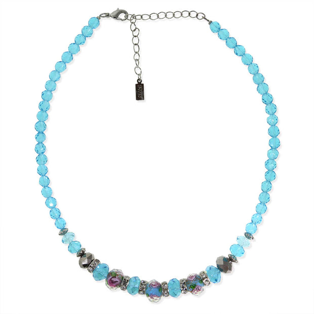 Silver Tone Aqua Pink Floral Beaded Necklace 15 In Adj