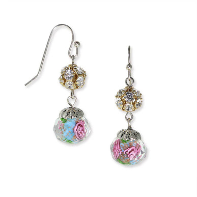 Silver Tone Aqua & Pink Flower Bead Crystals Drop Wire Earrings