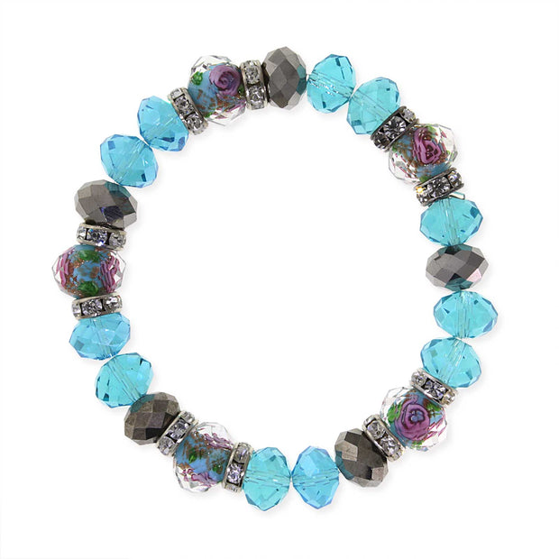 Silver Tone Aqua Pink Flower Crystal Stretch Beaded Bracelet