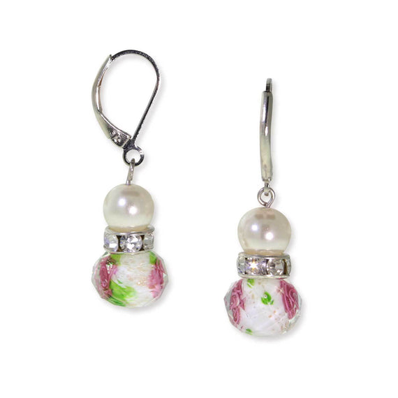 Silver Tone Faux Pearl Pink & Green Beaded Drop Wire Earring