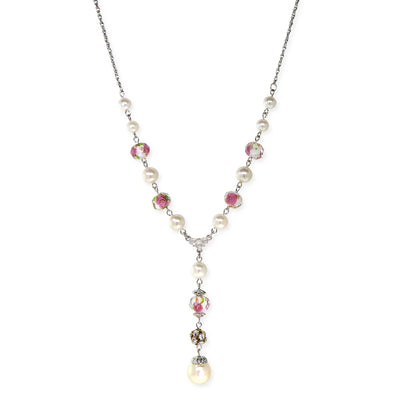 Silver Tone Costume Pearl Pink Flower Beaded Y Necklace 16 - 19 Inch Adjustable