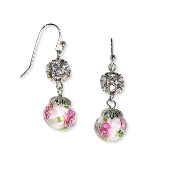 Silver Tone Crystal Pink Flower Beaded Drop Wire Earrings