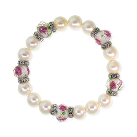 Silver Tone Faux Pearl Pink Flower Beaded Stretch Bracelet