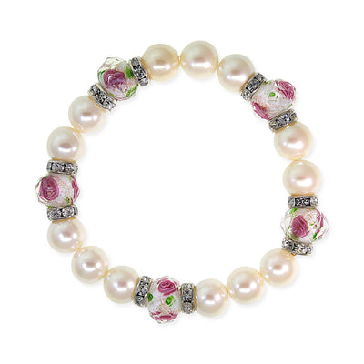 Silver Tone Costume Pearl Pink Flower Beaded Stretch Bracelet