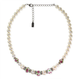 "Silver Tone Faux Pearl Pink Flower Beaded Necklace 15"" Adj."