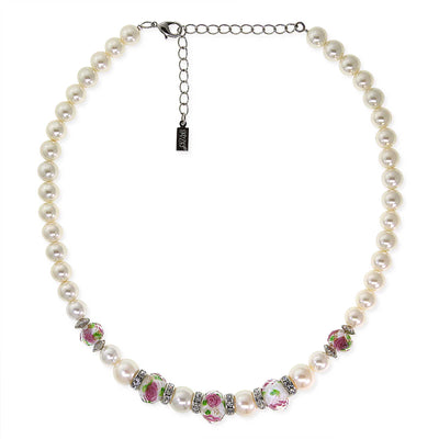 Silver Tone Costume Pearl Pink Flower Beaded Necklace 15 In Adj