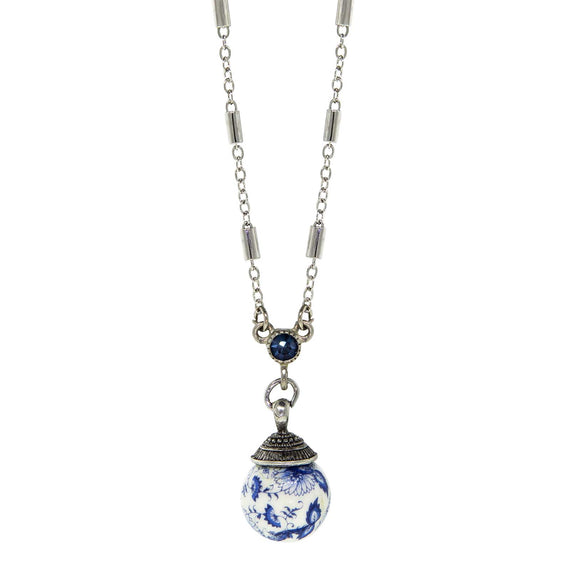 Silver Tone Round Blue Willow Beaded Drop Necklace 16 In Adj