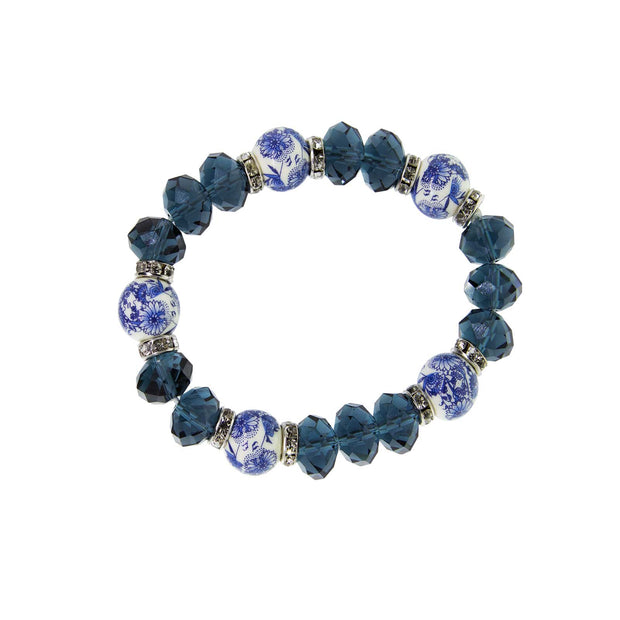 Silver Tone Dark Blue and Blue Willow Beaded Stretch Bracelet