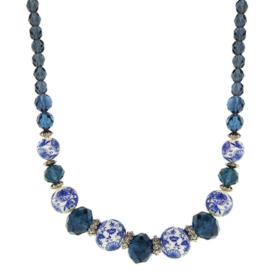Silver Tone Dark Blue And Blue Willow Beaded Necklace 16 - 19 Inch Adjustable