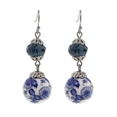 Silver Tone Dark Blue And Blue Willow Beaded Drop Earring