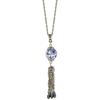 Silver Tone Round Blue Willow Bead With Tassel Drop Necklace 16 Inch