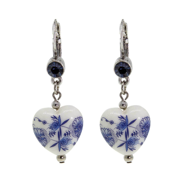 Silver Tone Blue Stone Blue Willow Heart Drop Earring