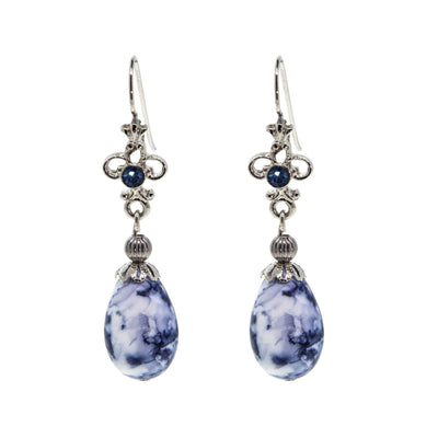 Silver Tone Blue Willow Oval Drop Earring