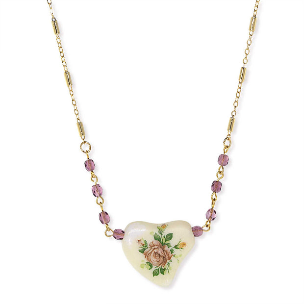 Gold Tone Purple Beaded White Heart With Pink Floral Decal Necklace 16 - 19 Inch Adjustable