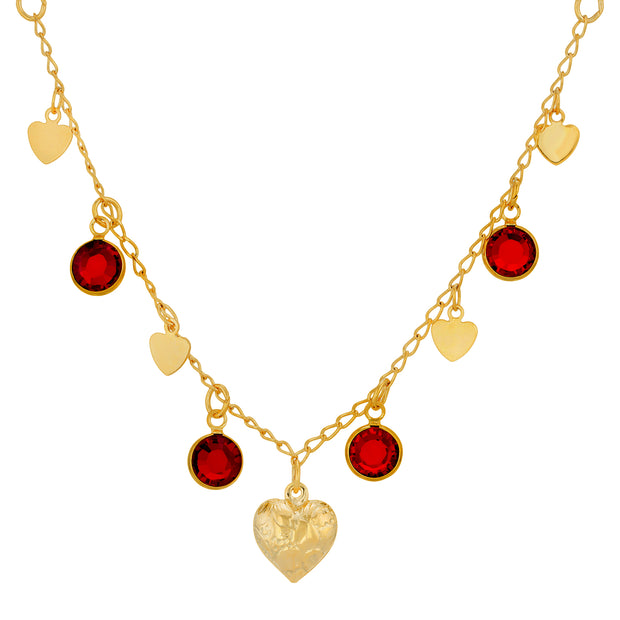 Gold Tone Diamond Channel Swarovski Crystal Element Stones with Hearts Drop Necklace 16 - 19 Inch Adjustable