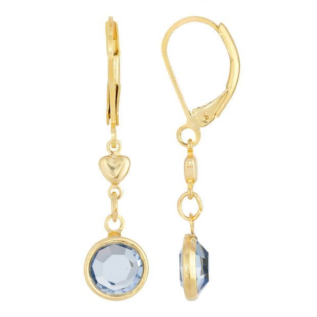 Blue Channel Crystal And Heart Drop Earring