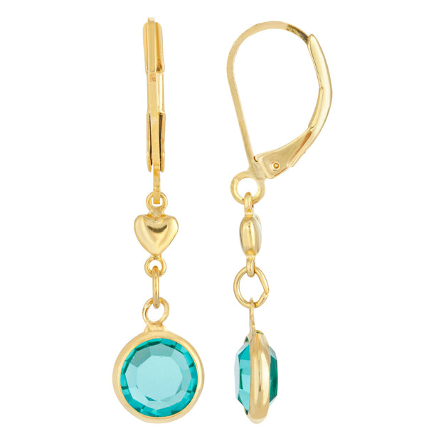 Light Blue Channel Crystal And Heart Drop Earring