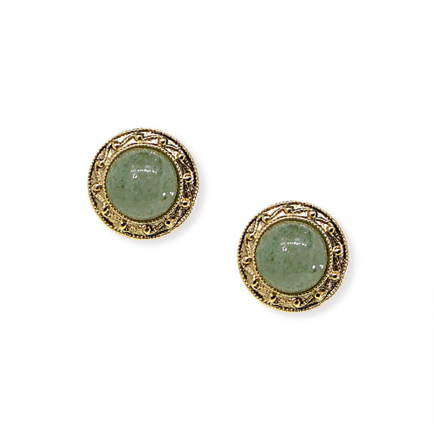 14K Gold Dipped Round Green Gemstone Aventurine Button Earrings