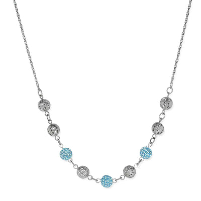 Silver Tone Round Crystal Fireballs Necklace 16   19 Inch Adjustable Light Blue