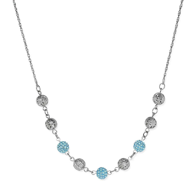 Silver Tone Round Crystal Fireballs Necklace 16 - 19 Inch Adjustable Light Blue