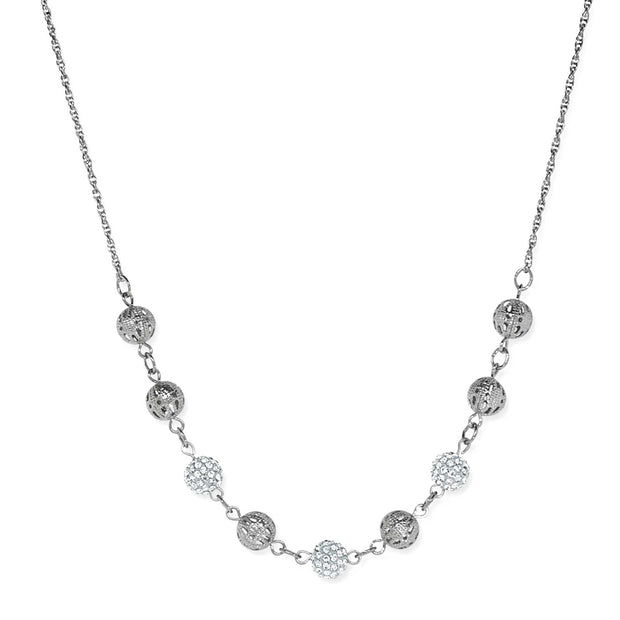1928 Jewelry Silver Tone Round Crystal Fireballs Necklace 16 - 19 Inch Adjustable