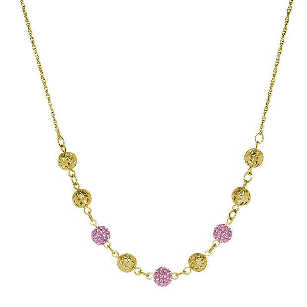 Gold Tone Round Balls With Pink Fireballs Necklace 16 - 19 Inch Adjustable