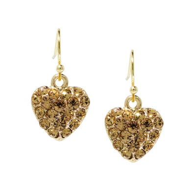 Gold Tone Topaz Crystal Heart Wire Earrings