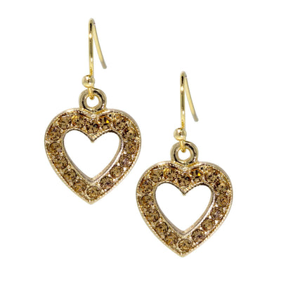Gold Tone Topaz Crystal Open Heart Wire Drop Earring