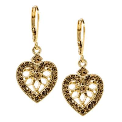 Gold Tone Topaz Large Heart Drop Earring