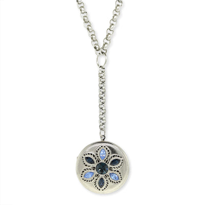 Crystal Flower Round Locket Necklace