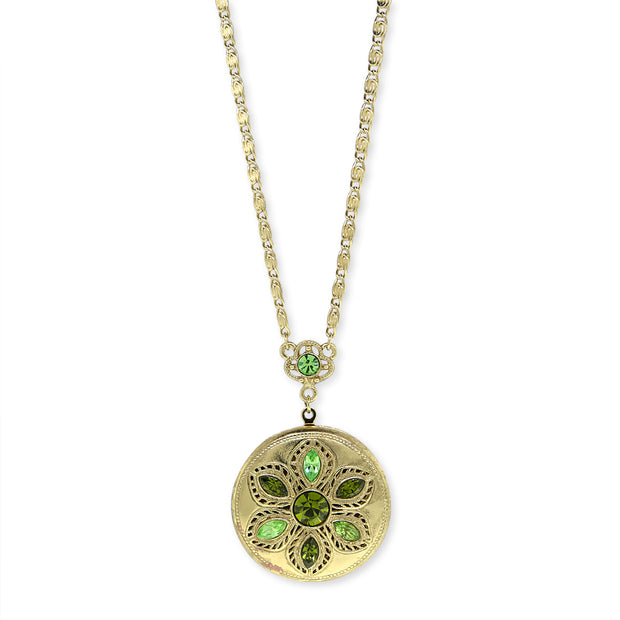 Crystal Flower Round Locket Necklace Green