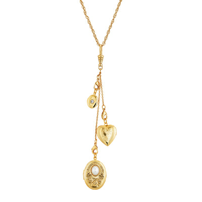 1928 Jewelry Gold Tone Multi Charm Heart Locket Necklace 30 Inches