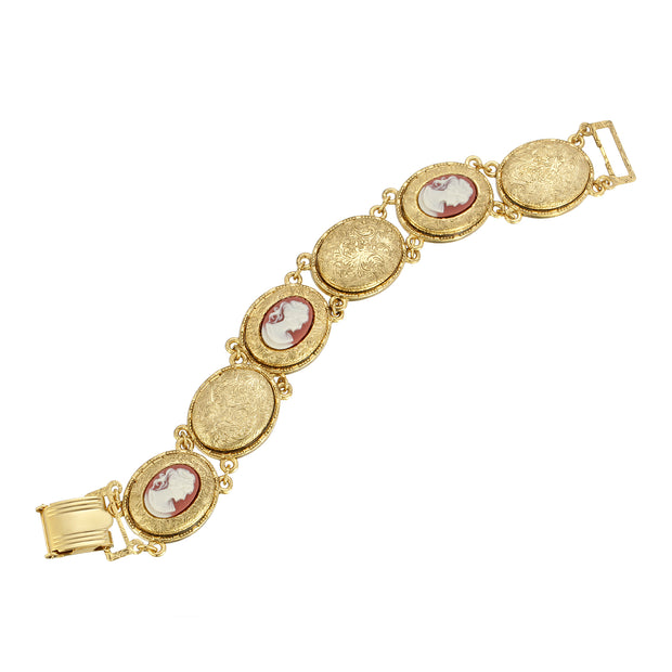 Gold Tone Oval Cameo And Locket Link Bracelet