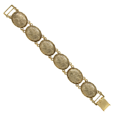 1928 Jewelry Gold Tone Oval Locket Link Bracelet