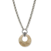 Silver Tone Gemstone Round Hoop Necklace 18