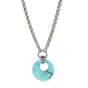 Silver Tone Gemstone Round Hoop Necklace 18 Light Blue