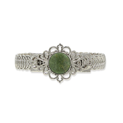 Silver Tone Green Gemstone Belt Bracelet