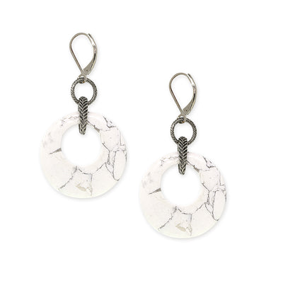 Silver Tone White Gemstone Round Hoop Drop Earrings