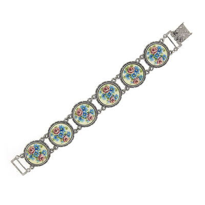 1928 Jewelry Silver Tone Round Blue & Pink Rose Stone Link Bracelet